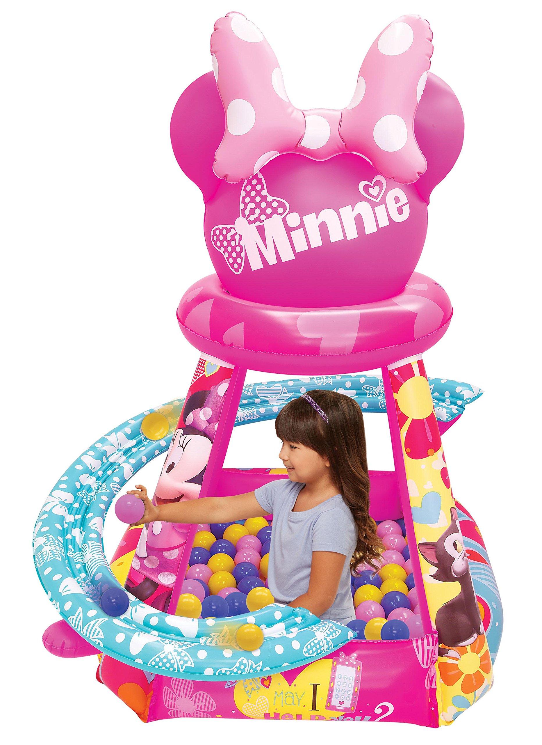 Minnie Mouse Big Heart & Bows Ball Pit, 1 Inflatable & 50 Sof-Flex Balls, Pink, 43'' W x 43'' D x 38'' H