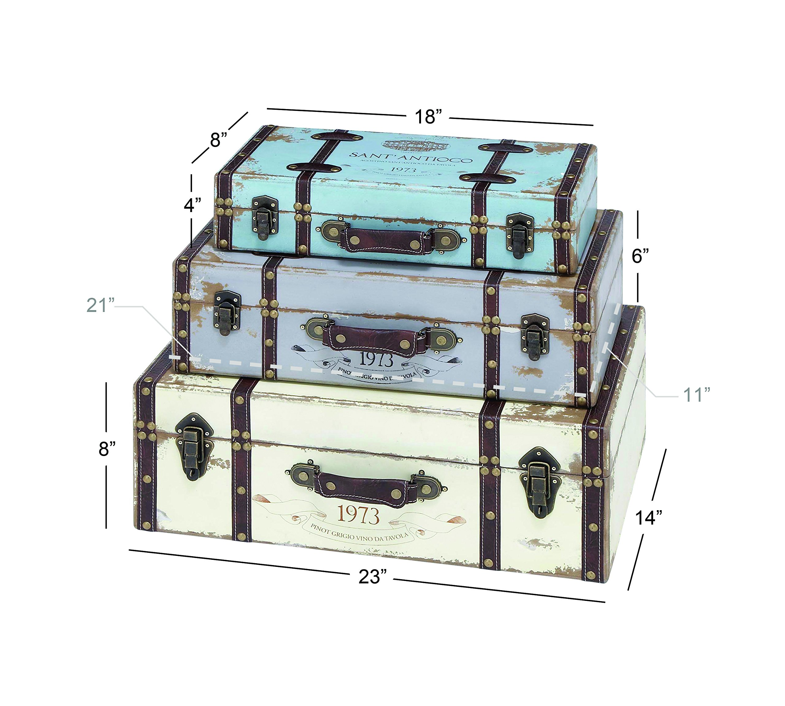 Deco 79 Wood Trunk, 23 by 21 by 18-Inch, Set of 3 by Deco 79 (Image #3)