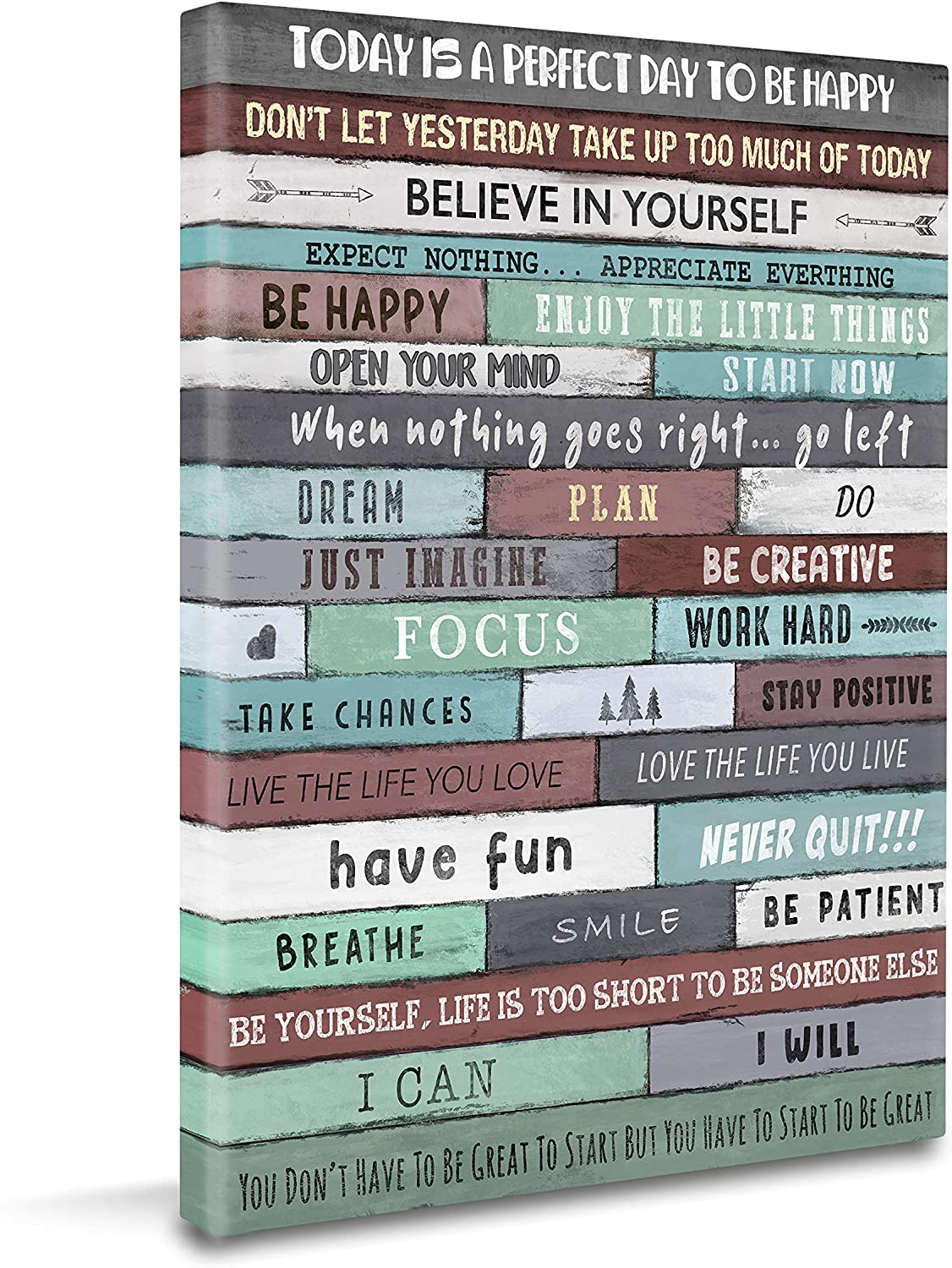 "Istrion Inspirational Wall Art Framed Canvas for Bedroom Bathroom Office Gym Kitchen Living Room Decor Motivational Quote Phrases Inspiring Wall Poster Farmhouse Rustic Vintage Picture Life Quotes Teal Color Schema Size 16""x12""x1"""