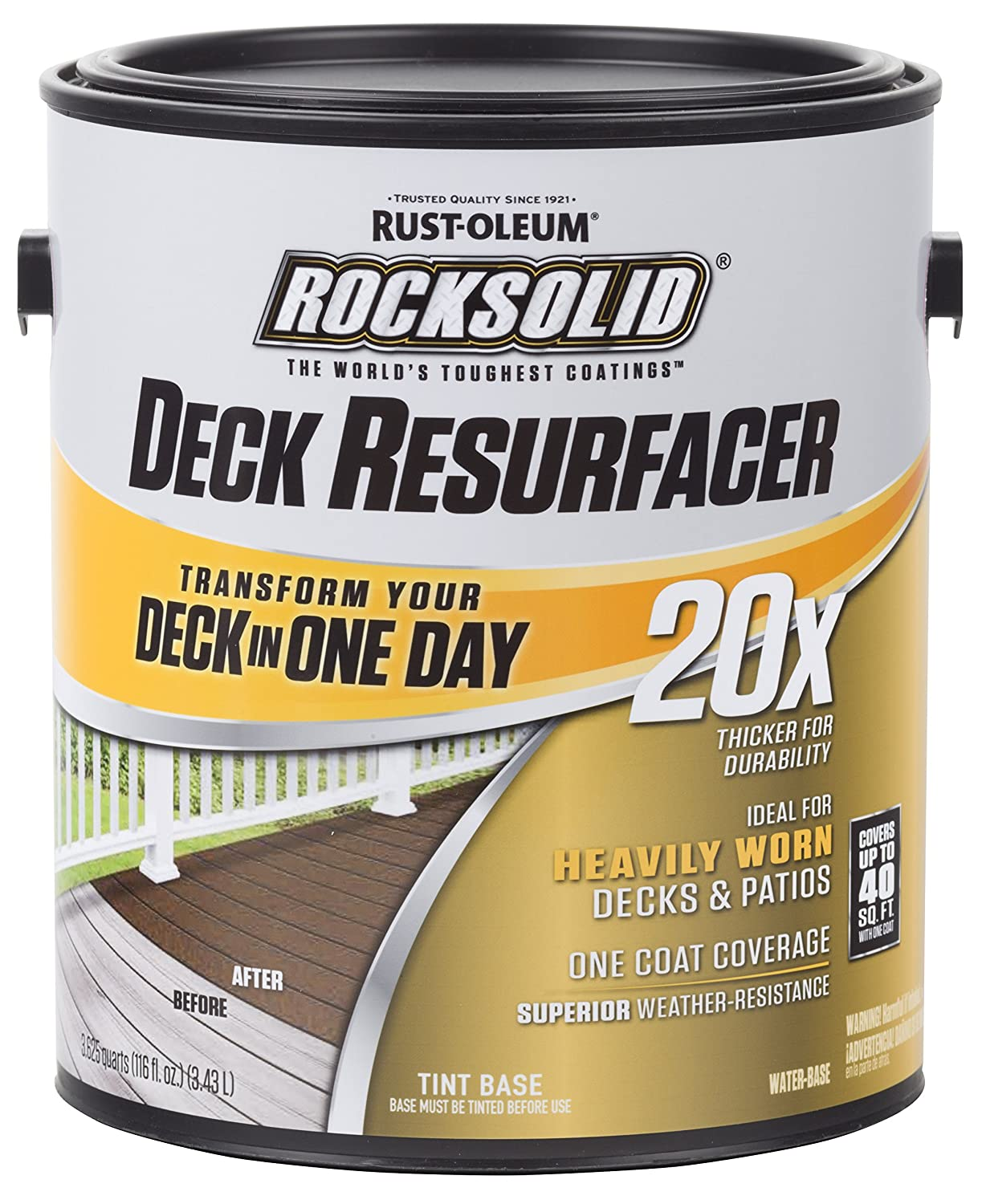 Rust Oleum 319367 RockSolid 20X Deck Resurfacer 1 Gallon Canvas