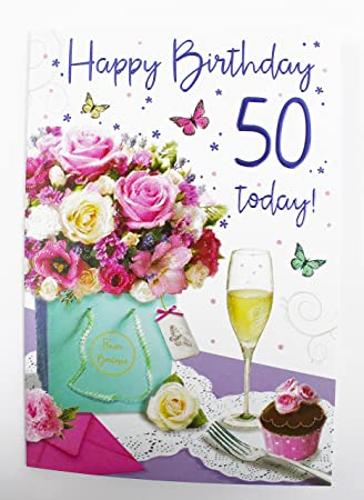 Happy 50th Birthday Greeting Card For Her Ladies Womens Friend Quality Age Verse Amazoncouk Office Products