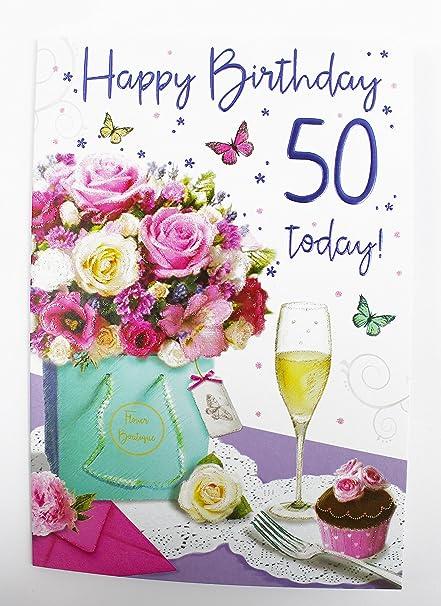 Happy 50th Tarjeta de felicitación de cumpleaños para Her ...