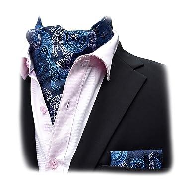 Felix & SiLK Hombre Niño Paisley Set Ascot Cravat Corbatas Fulares Bufanda de Cuello Bufanda Cuadrado de Bolsillo Pañuelos Bandana Hecho a Mano