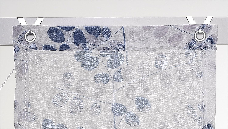 Kutti Raffrollo /Ösenrollo Annemie Weiss blau 100 x 140
