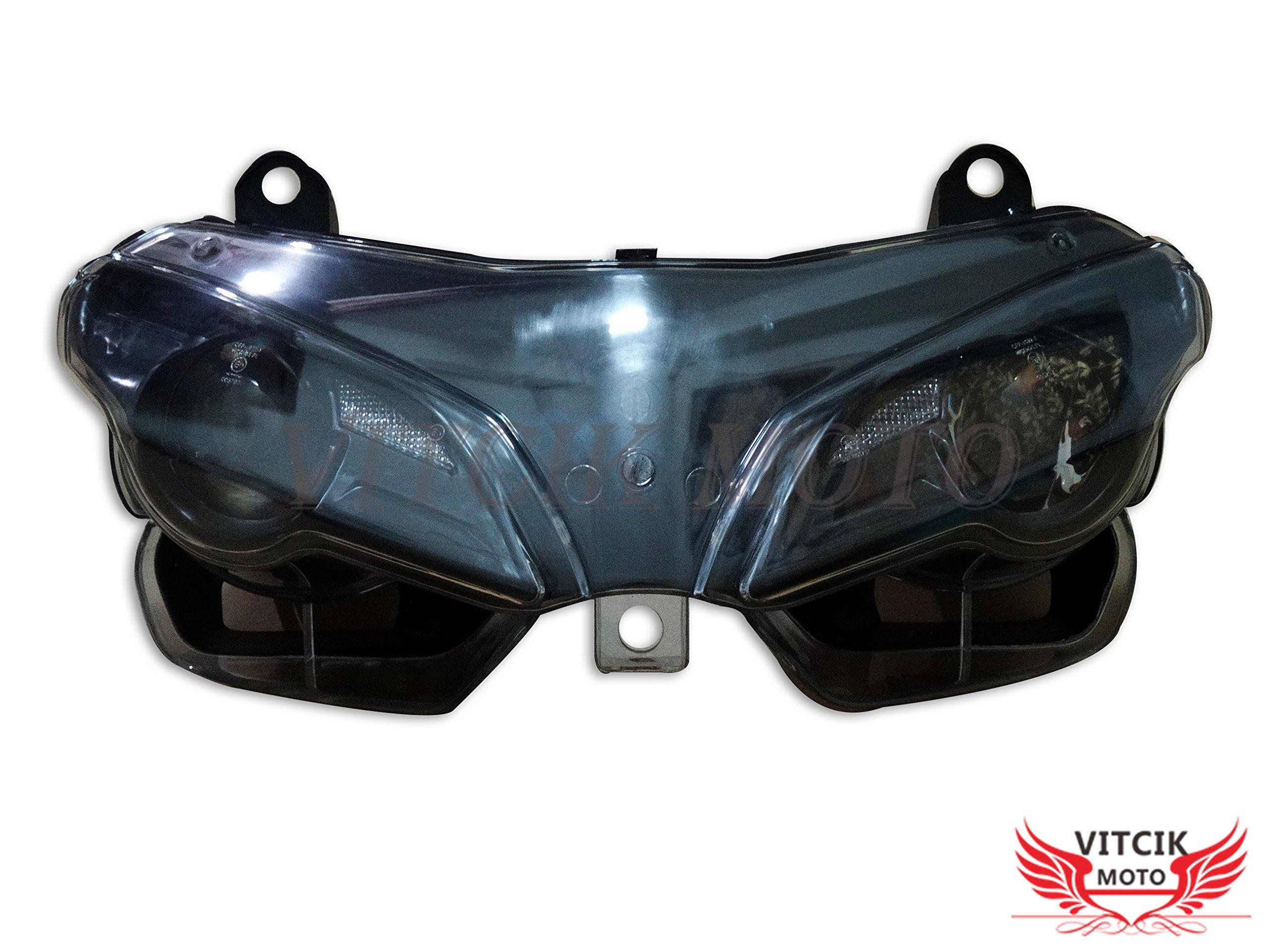 VITCIK Motorcycle Headlight Assembly for DUCATI 1098 848 2007 2008 2009 2010 2011 Head Light Lamp Assembly Kit (Black)