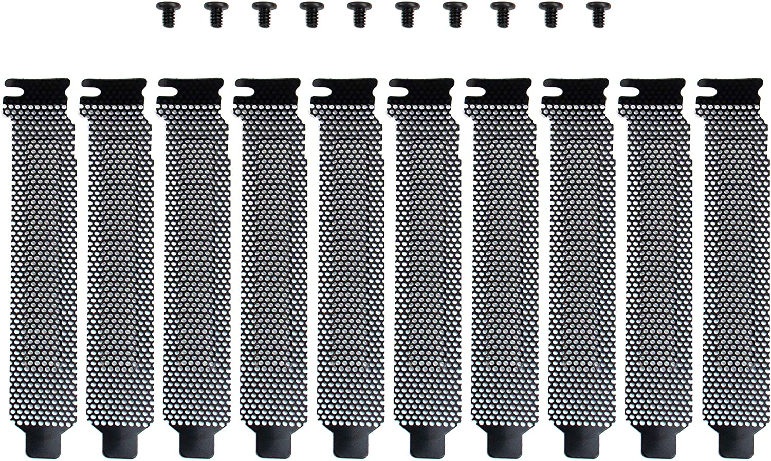 AUEAR, 10 Pack Black PCI Slot Cover Hard Steel Dust Filter Blanking Plate with Screws