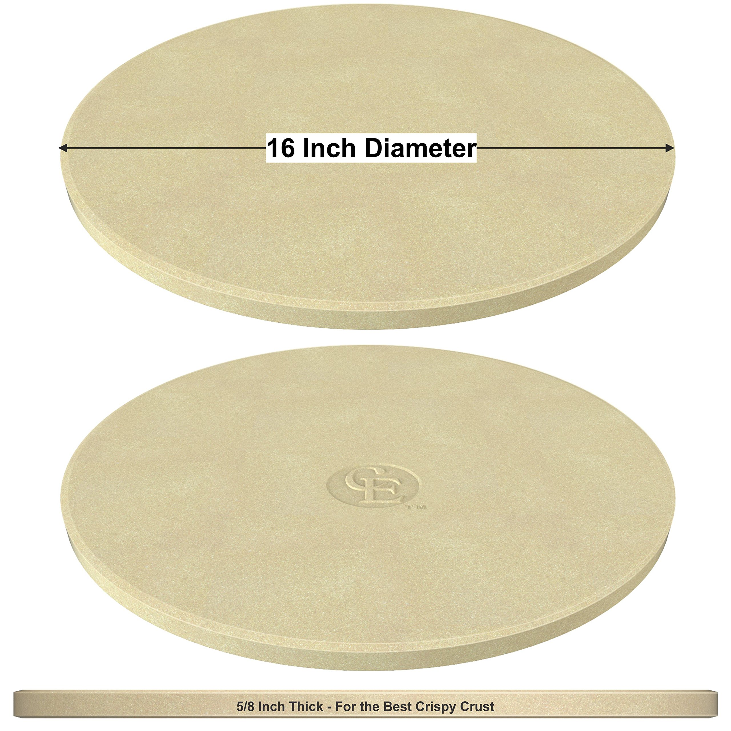Pizza Stone for Best Crispy Crust Pizza, The Only Stoneware with Thermarite (Engineered Tuff Cordierite). Durable, Certified Safe, Ovens & Grills 16 Round, Bonus Recipe Ebook & Free Scraper by CastElegance (Image #9)