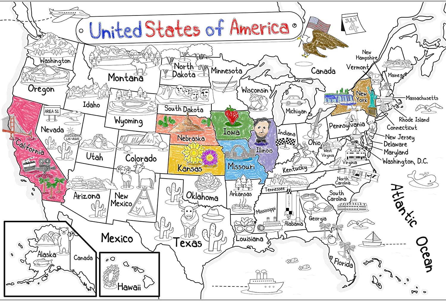 Us Map Coloring Tool Amazon.com: Dekali Designs US Map Coloring Poster   52x35 Inches