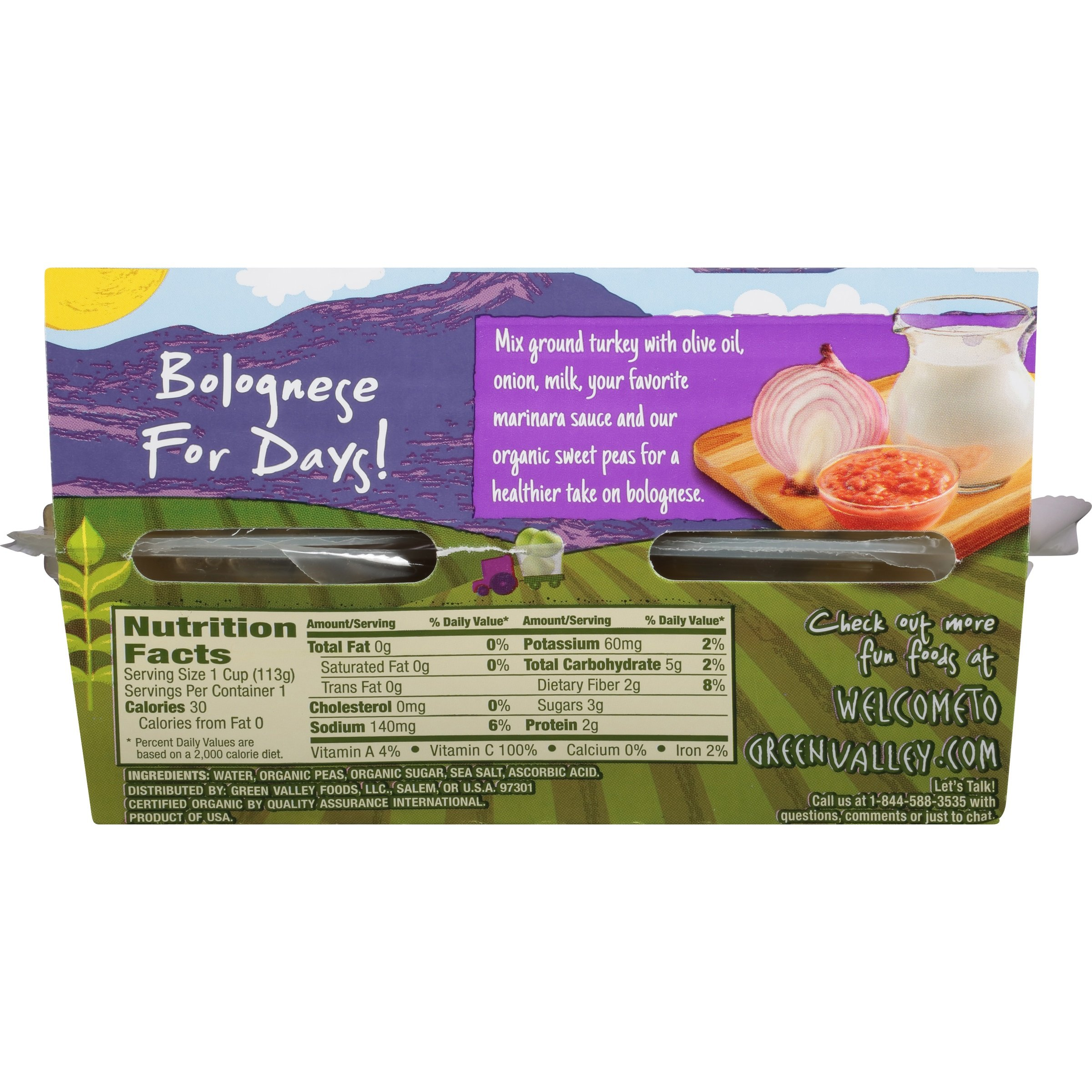 Green Valley Organics Sweet Peas, Single Serve 4 Ounce Cups, Pack of 6