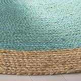 Safavieh Area Rug, 7' Round, Teal/Natural