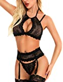 Racicio Women Sexy Lingerie Lace Bralette Panty Set with Garter Belt (No Stockings)