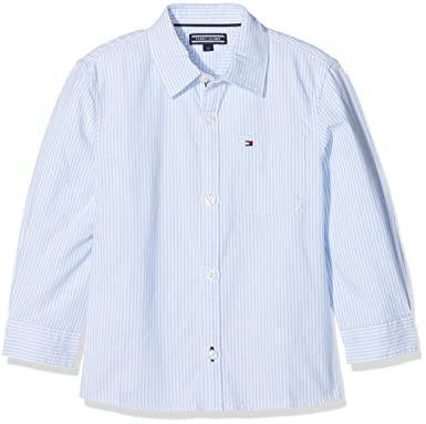 2f4c11aa Tommy Hilfiger Boy's Ithaca Stripe Shirt L/s Blouse, White (Regatta 411)