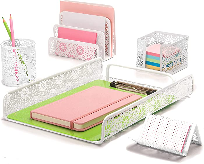 Hudstill White Cute Desk Organizer Set for Women and Girls in Sunflower Design with 5 Office Supplies Accessories : File Tray, Mail Organizer, Pen Cup, Sticky Notes Holder and Business Card Holder