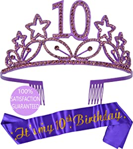 10th Birthday Gifts for Girl, 10th Birthday Tiara and Sash Purple, HAPPY 10th Birthday Party Supplies, It's my 10th Birthday Satin Sash and Crystal Tiara Birthday Crown for 10th Birthday Party Supply