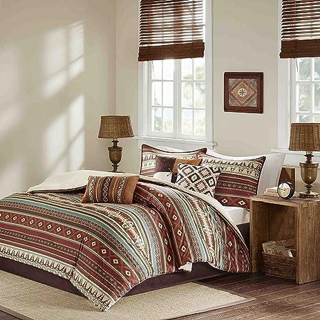 7pc Red Brown Blue White Southwest Comforter King Set, Horizontal Tribal  Stripes Geometric Motifs Lodge