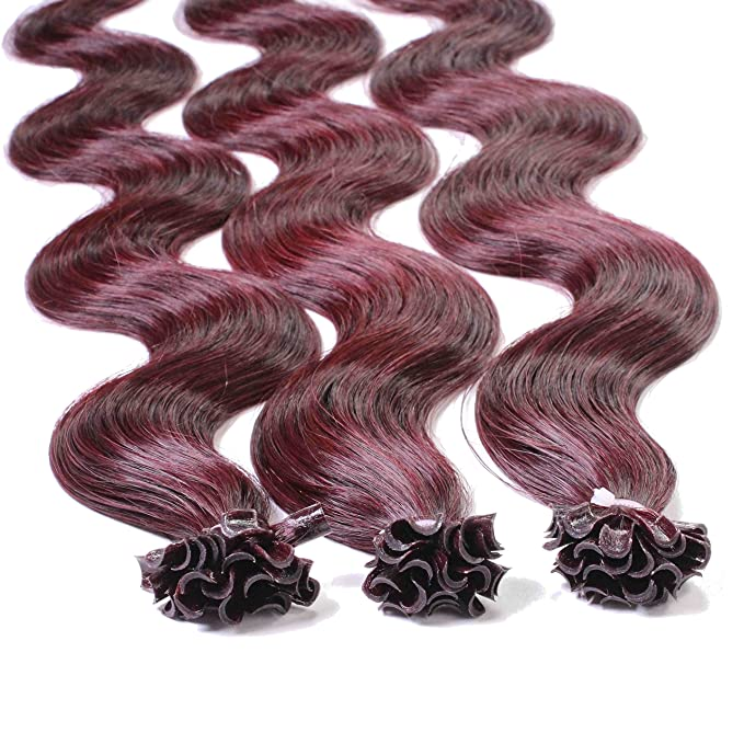 Just Beautiful Hair 50 x 0,8g Extensiones de Queratina - 50cm - Corrugado, Colore #99j Caoba: Amazon.es: Belleza