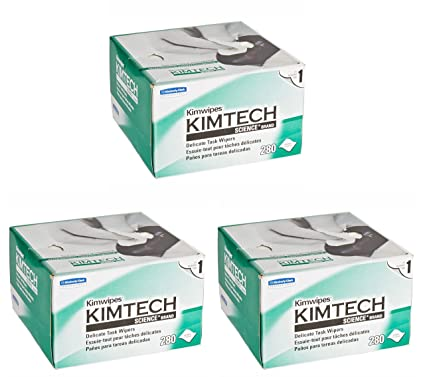 Kimberly-Clark Kimtech Science Kimwipes Delicate Task Disposable Wiper Pack of 3 8-25//64 Length x 4-25//64 Width White