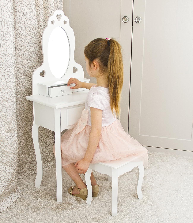 Tocador con taburete y espejo de niñas