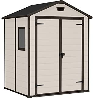 Keter Manor Outdoor Plastic Garden Storage Shed, 6 X 5 Feet   Beige