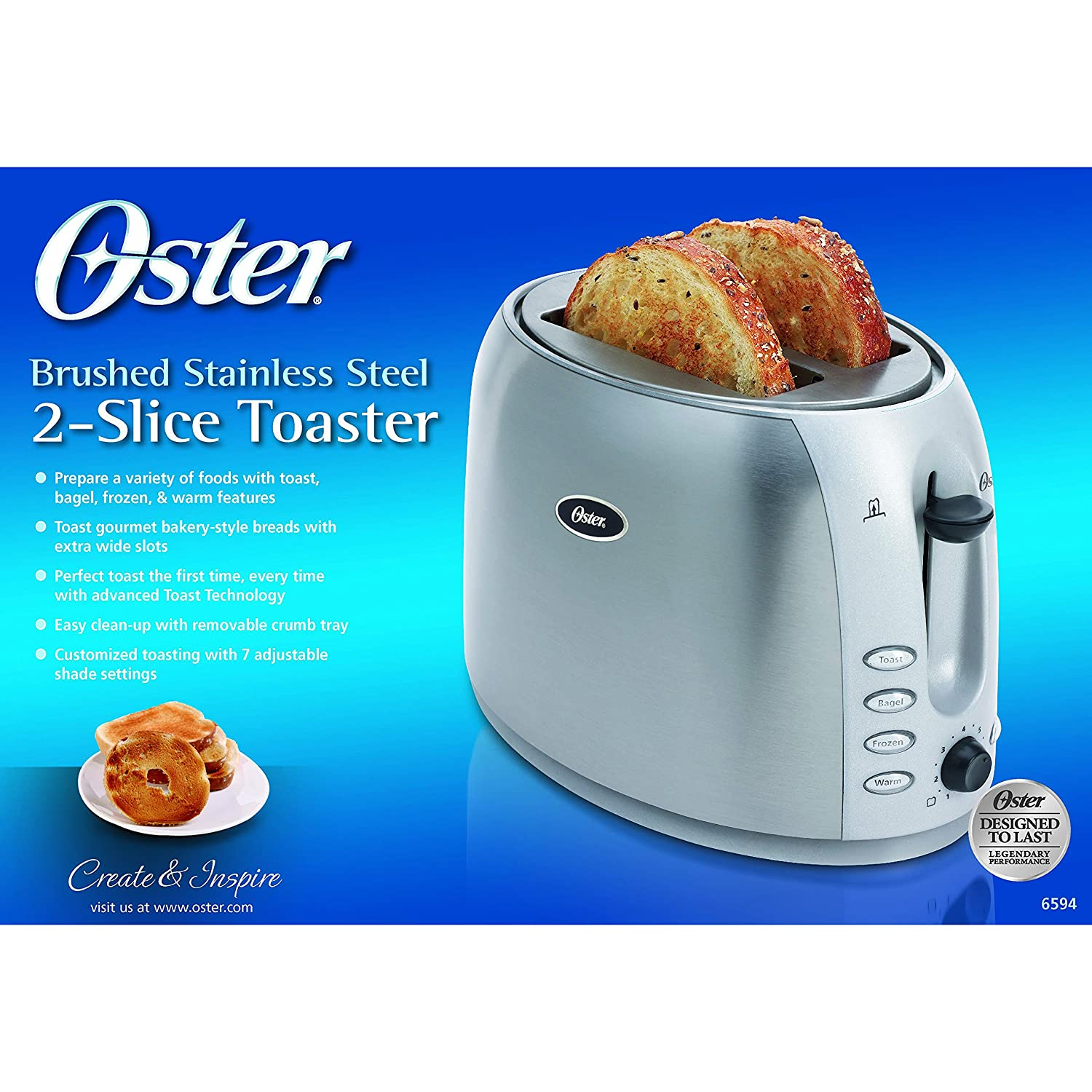 Amazon.com: Oster 2-Slice Toaster, Brushed Stainless Steel (006594 ...