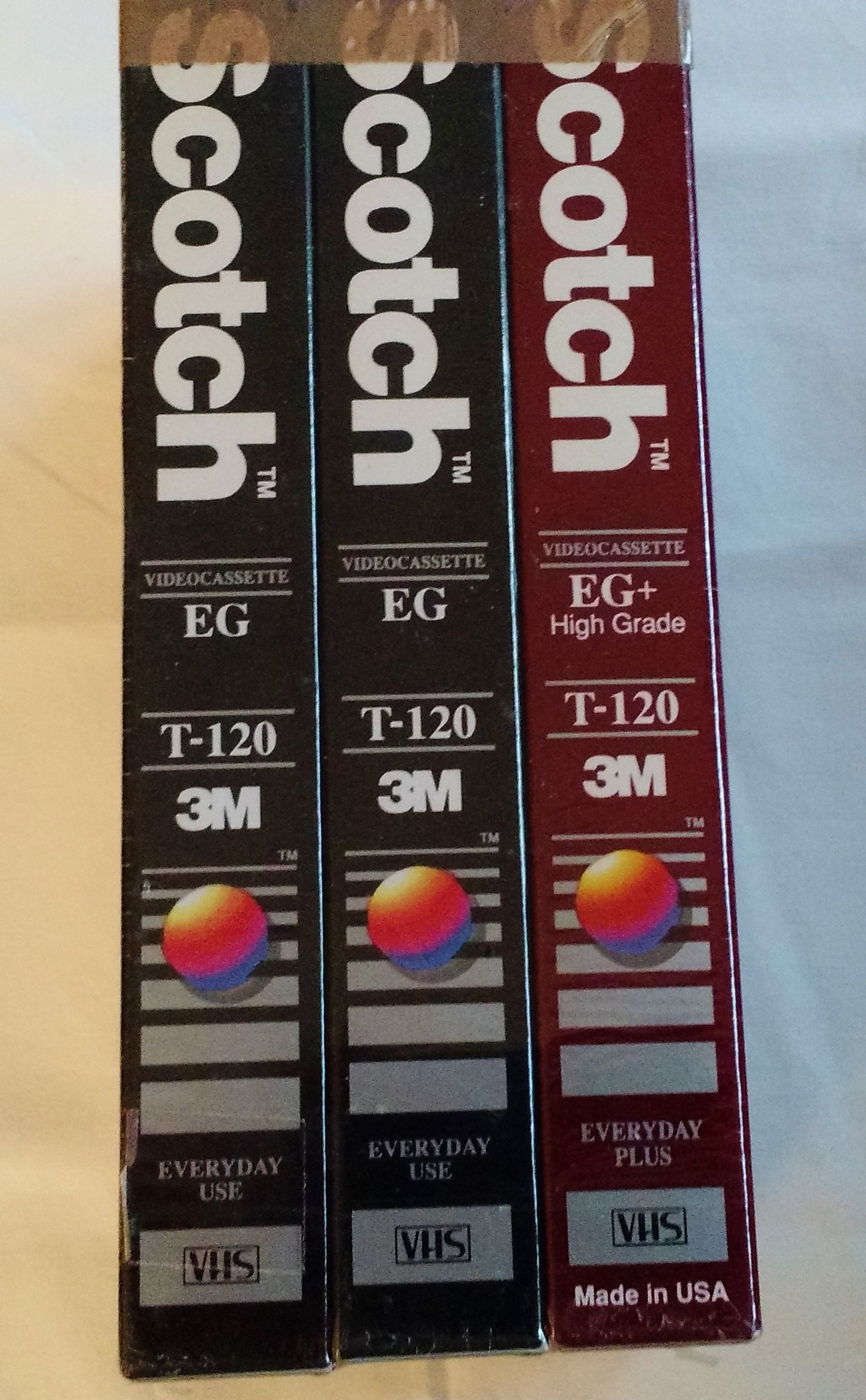 Scotch 3 VHS Value Pack with 2 High Standard and 1 Performance High Grade Videocassette T-120