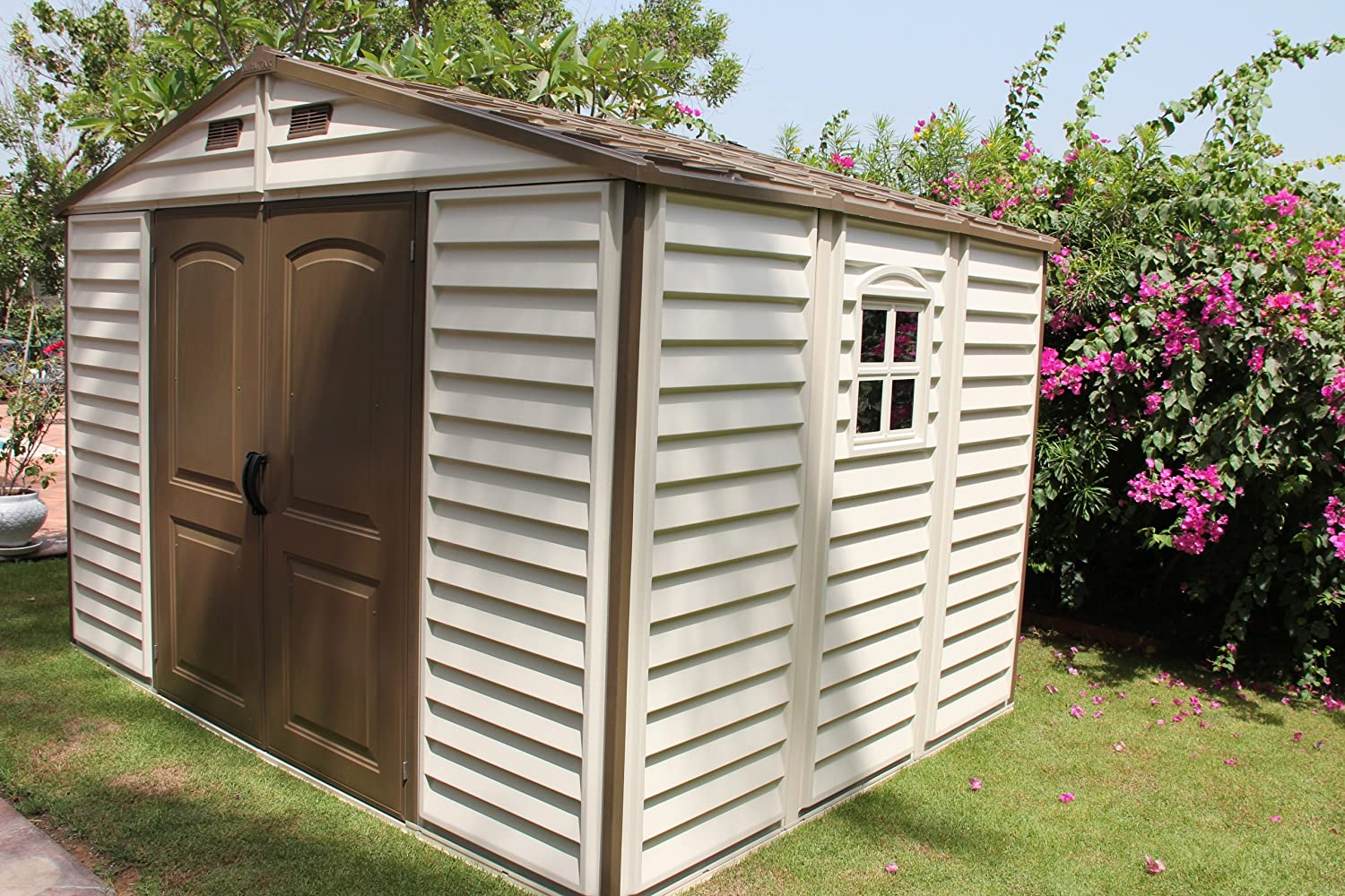 amazoncom duramax 30211 woodside vinyl shed with foundation 105 by 8 feet storage sheds garden outdoor - Garden Sheds Vinyl