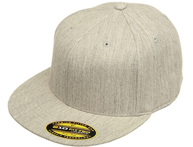 02d5a699668 Blank Flexfit Flatbill XXL Extra Large Fitted Hat Cap 6210XX (Heather Grey)