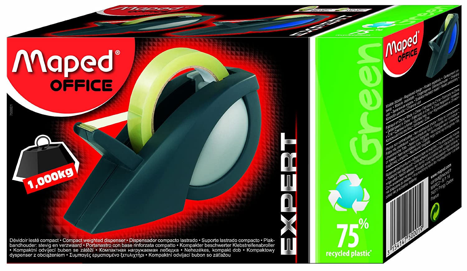 Amazon.com : Maped Compact Pro Weighted Tape Dispenser (750001) : Office Products