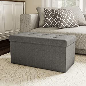 Lavish Home 80-FOTT-5 Large Folding Storage Bench Ottoman – Tufted Cube Organizer Furniture with Removeable Bin for Home, Bedroom, Living Room (Grey),