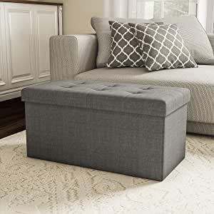 Lavish Home Large Folding Storage Bench Ottoman – Tufted Cube Organizer Furniture with Removeable Bin for Home, Bedroom, Living Room (Grey),