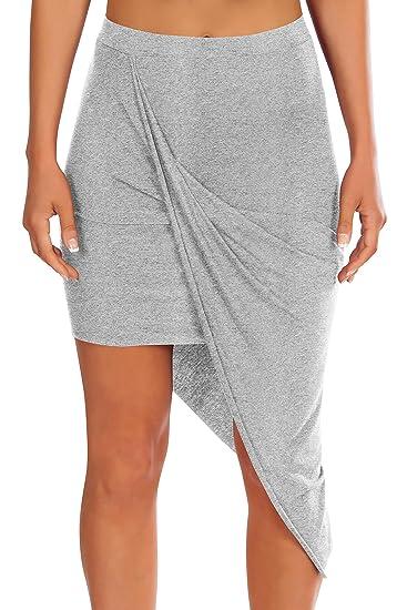 8a305c767079d Womens Banded High Waisted Skirt Draped Beach Cover Up Asymmetrical Skirt  Heather Grey Small