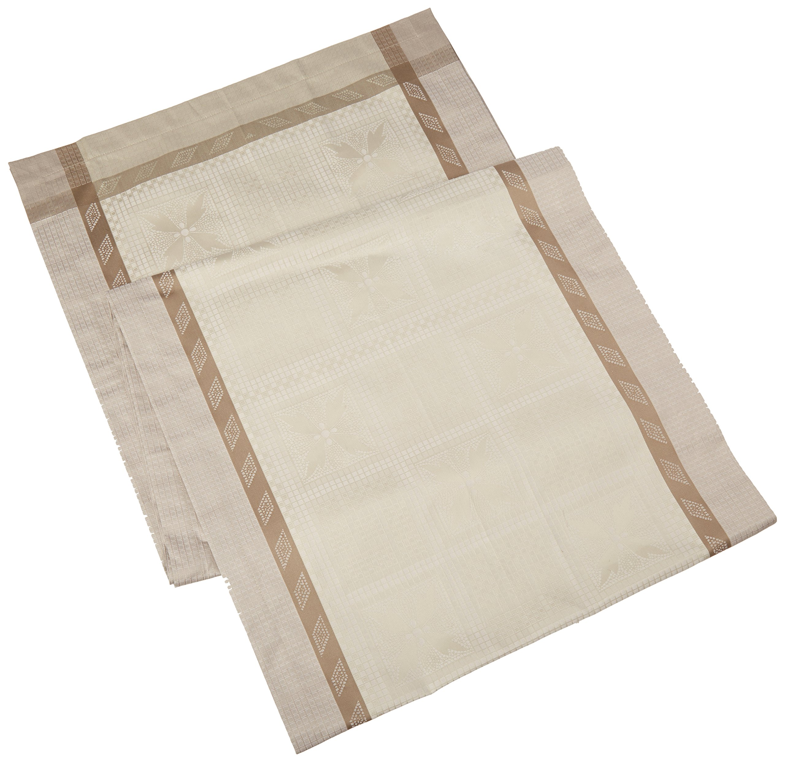 Garnier Thiebaut Antique Table Runner, 20 by 106'', Terre, Green Sweet Stain Resistant Cotton, Made in France