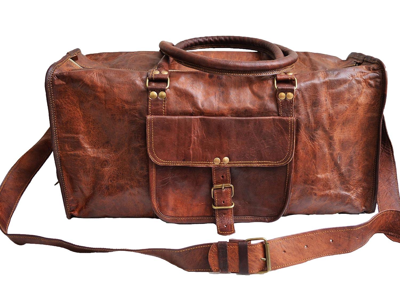 Amazon.com | Genuine Leather Mens Sports Duffel Travel Luggage ...