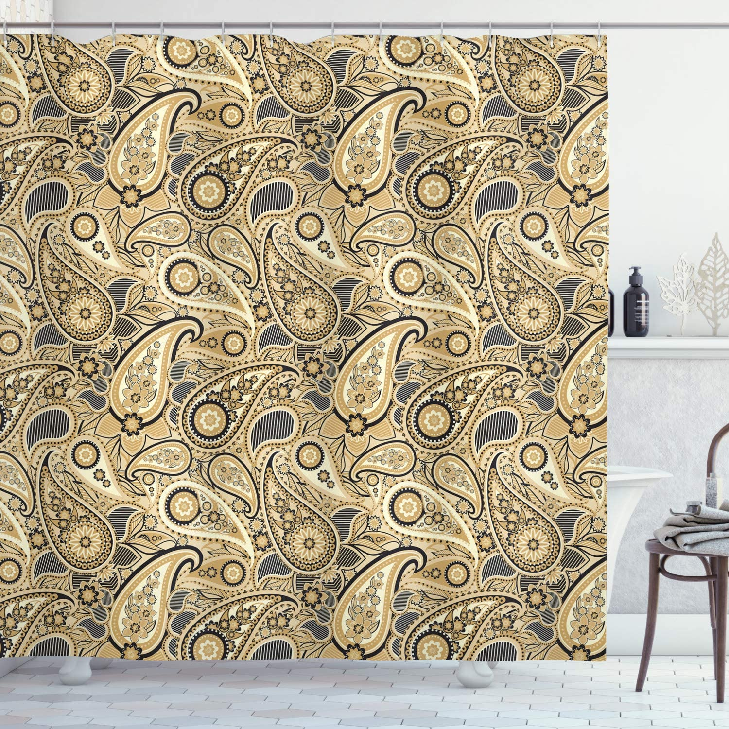 """Ambesonne Earth Tones Shower Curtain, Iranian Pattern Traditional Paisley Welsh Pears, Cloth Fabric Bathroom Decor Set with Hooks, 75"""" Long, Charcoal Yellow"""