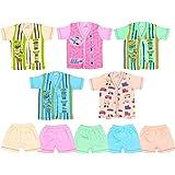 Sathiyas Born Baby Unisex V-Neck Cotton Top & Bottom (Multicolor) - Pack of 5 Sets