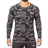 SMILODOX Slim Fit Longsleeve Herren | Camouflage - Funktionsshirt für Sport Fitness Gym & Training | Langarmshirt - Trainingsshirt Langarm - Sportshirt mit Aufdruck