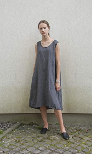 8f9e5ad850 Amazon.com  Sleeveless dark grey linen dress with pockets