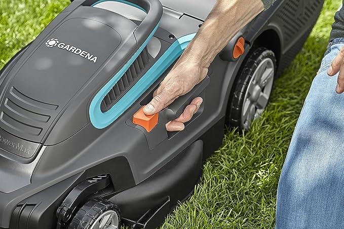 Cortacésped eléctrico PowerMax 1600/37 de GARDENA: segadora hasta 500 m², ancho de corte 37 cm, volumen 45 l, altura de corte 20-60 mm, manillar ...