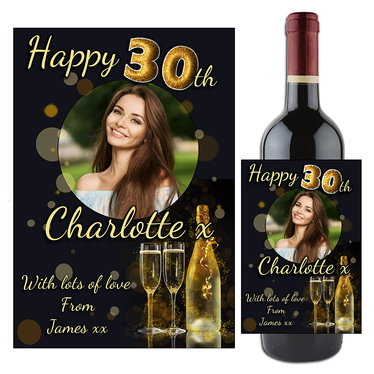 Personalised 18th 21st Any Age Birthday DIY Wine Bottle Vinyl Decal Stickers