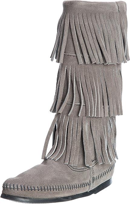 Grey Minnetonka Women/'s 3-Layer Fringe Boot Choose Your Size
