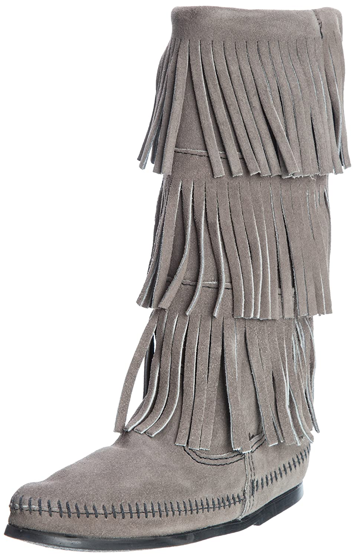 Grey Suede Minnetonka Women's Three-Layer Fringe Boot