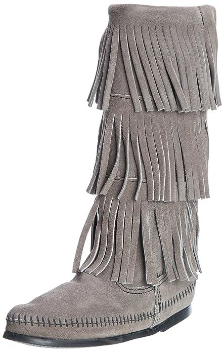 Minnetonka Stiefel aus Veloursleder Schwarz Größe 37