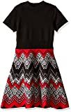My Michelle Girls' Big Knit Short Sleeve Sweater Dress with Mock Neck and Chevron Bottom, Black/Red, Small