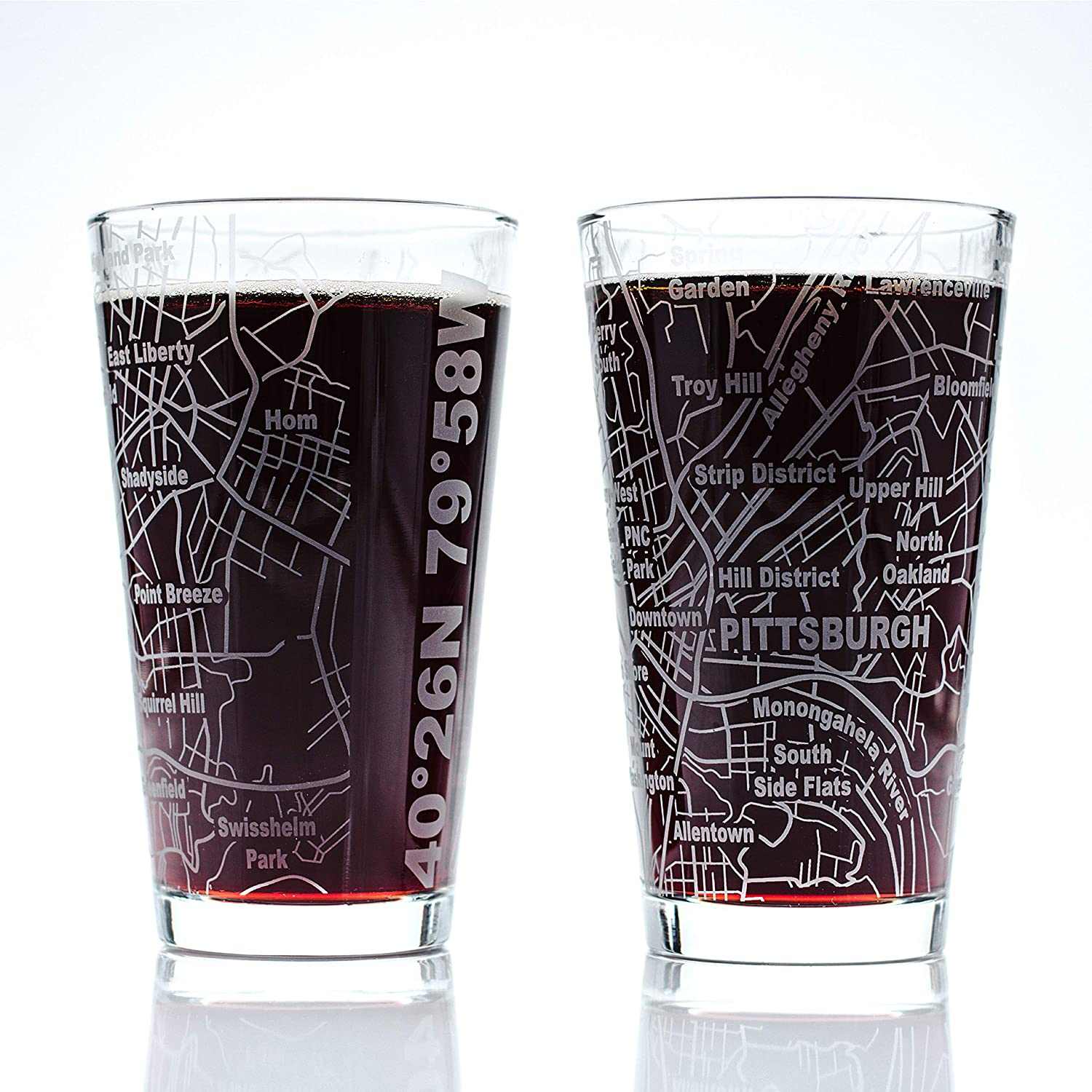 Greenline Goods Beer Glasses - 16 oz Drinkware Set for Pittsburgh lovers | Set of 2 | Etched with Pittsburgh, IL Map | Premium Decorative Glassware