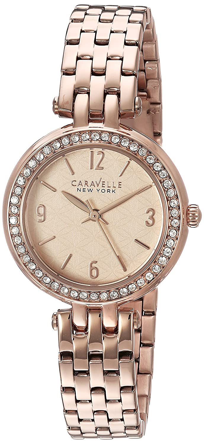Amazon.com: Caravelle New York Womens 44L175 Swarovski Crystal Rose Gold Tone Watch: Watches