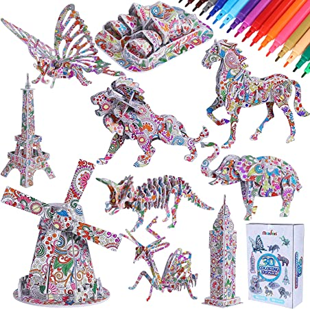 Educational Painting Puzzles Arts and Crafts Birthday Toy Gift for Kids Girls Boys 6-12 Year Old 4 Pack 3D DIY Animals Puzzle Kit with 12 Coloring Marker Pen