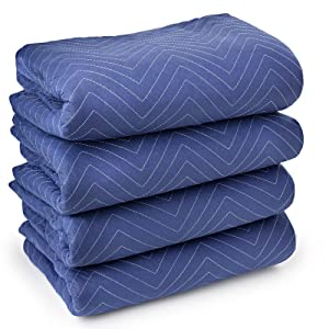 "Sure-Max 4 Moving & Packing Blankets - Deluxe Pro - 80"" x 72"" (40 lb/dz weight) - Professional Quilted Shipping Furniture Pads Royal Blue"