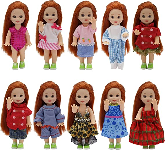 """8-p set Barbie Clothes Travel Suitcase Accessories for 4 inch 11.5/"""" Kelly Doll"""