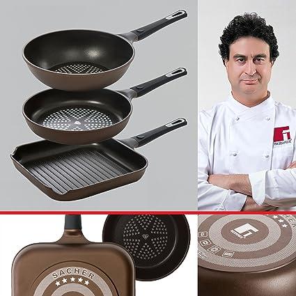 Bergner Sacher: Juego de útiles de cocina: Sartén 28, Sartén Wok 28 ...