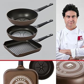 Bergner Sacher: Juego de útiles de cocina: Sartén 28, Sartén Wok 28 y Asador 28 cms.: Amazon.es: Hogar